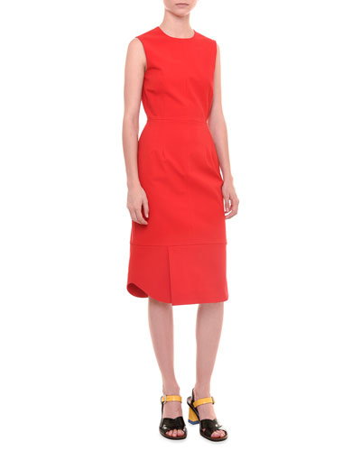 Sleeveless Jewel-Neck Dress, Red