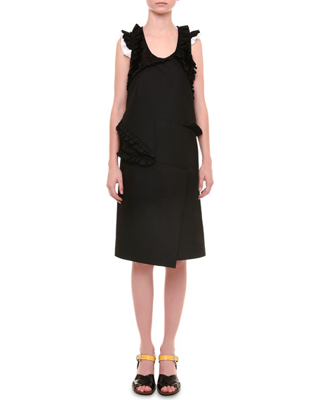 Jil Sander Radzimir Sleeveless Dress W/Ruffles, Black