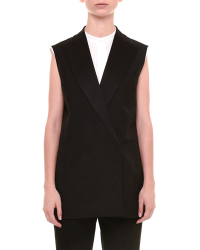 Sleeveless Long Jacket, Black