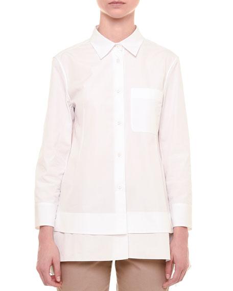 Jil Sander Layered-Hem Button-Front Blouse, White