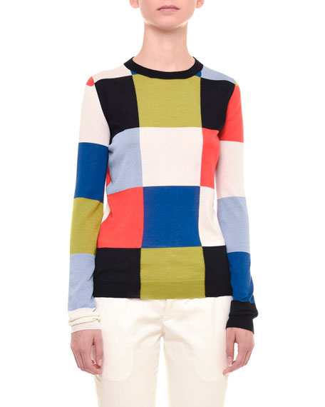 Jil Sander Long-Sleeve Geometric-Square Top, Multi Colors