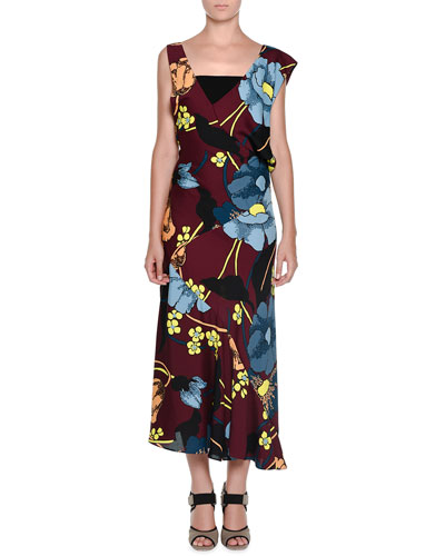 V-Neck Flower-Print Maxi Dress, Port Red