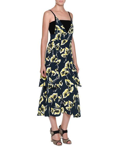 Marni Sleeveless Tiered Floral-Print Dress, Blue/Black
