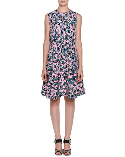 Sleeveless Abstract-Print Dress, Pink Clematis