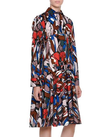 Long-Sleeve Floral-Print Belted Shirtdress, Powder Pink