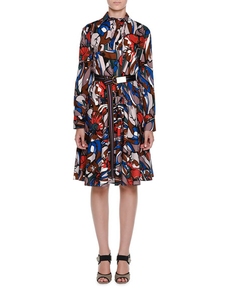 Marni Long-Sleeve Floral-Print Belted Shirtdress, Powder Pink