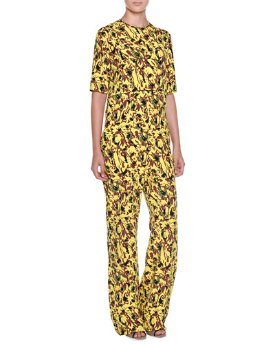 Half-Sleeve Abstract-Print Jumpsuit, Lemon