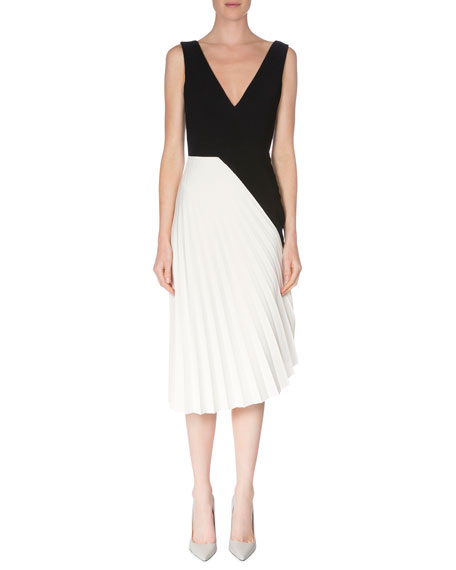 Roland Mouret Sleeveless Colorblock Pleated Dress, Black/White