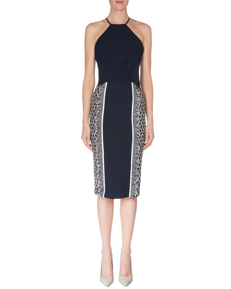 Roland Mouret Flutter-Front Dress W/Fringe, Navy/White