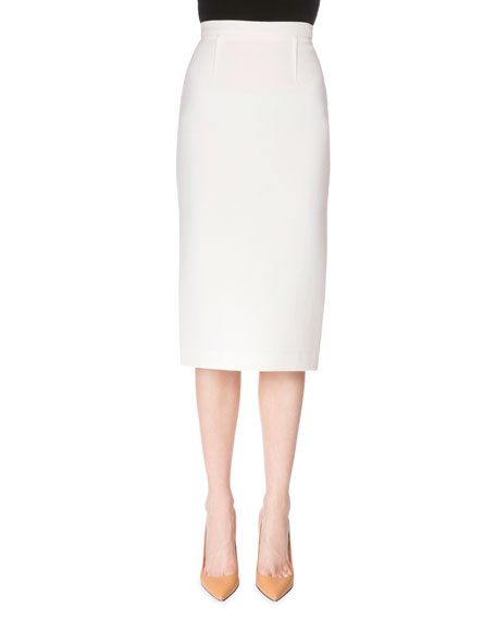Roland Mouret Exposed-Zip Pencil Skirt, White