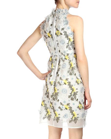 Halter-Neck Floral-Embroidered Dress, White Floral