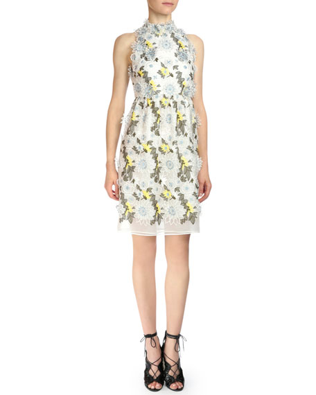 Erdem Halter-Neck Floral-Embroidered Dress, White Floral