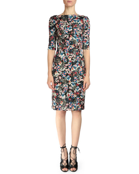 Erdem Kirsten Floral-Print Sheath Dress, Pink Multi