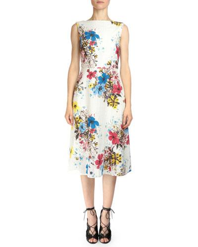 Sleeveless Eyelet Floral-Print Dress, White Multi