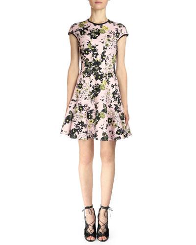 Floral-Print Fit-&-Flare Dress, Pink/Black