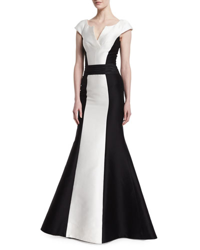Cap-Sleeve Tuxedo Colorblock Gown, Black/White