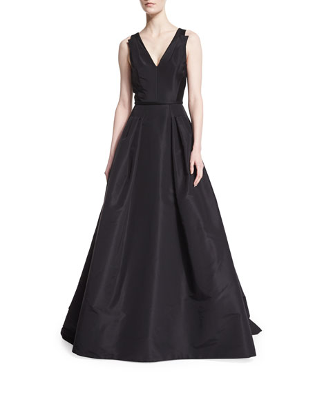 Carolina Herrera Sleeveless V-Neck Ball Gown, Black