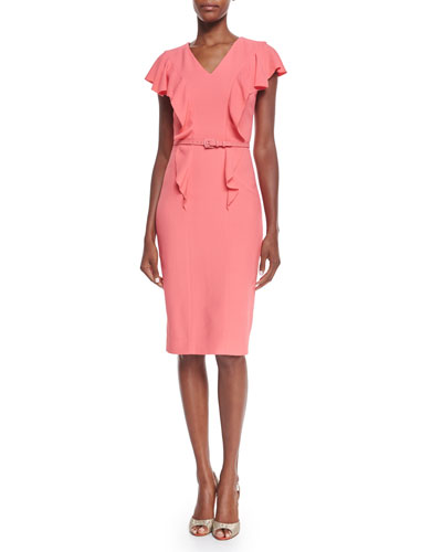 Ruffle-Front Belted Sheath Dress, Coral