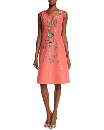 Sleeveless Floral-Embellished Dress, Coral