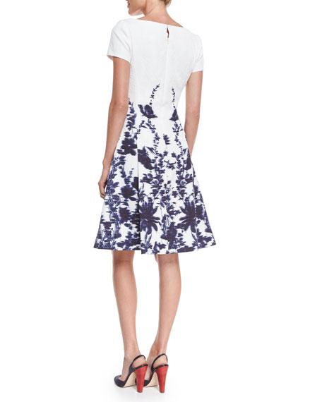 Short-Sleeve Floral-Print A-Line Dress, Navy/Ivory