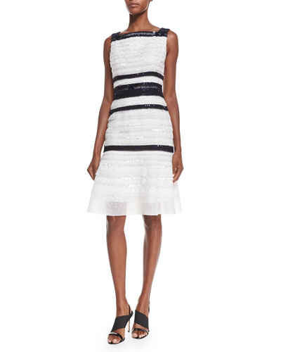 Carolina Herrera Embellished Striped Cocktail Dress, Navy/Ivory