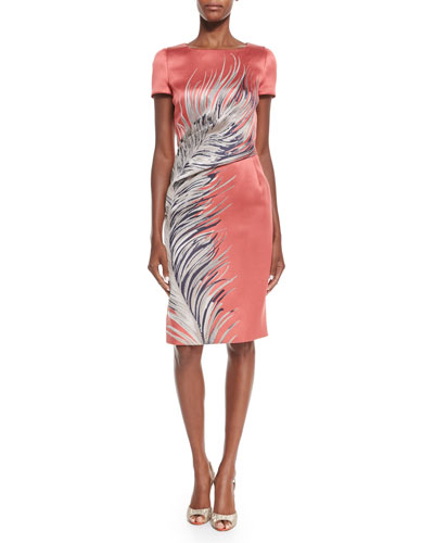 Short-Sleeve Large-Feather Cocktail Dress, Coral/Beige