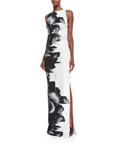 Sleeveless Techno-Jersey Column Gown, Black/White