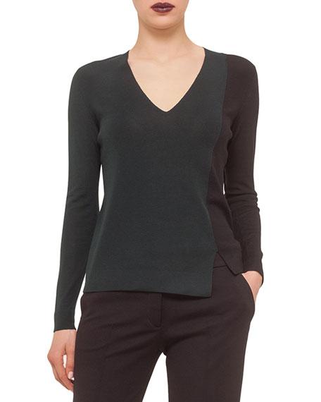 Long-Sleeve Colorblock Sweater, Bottle/Black