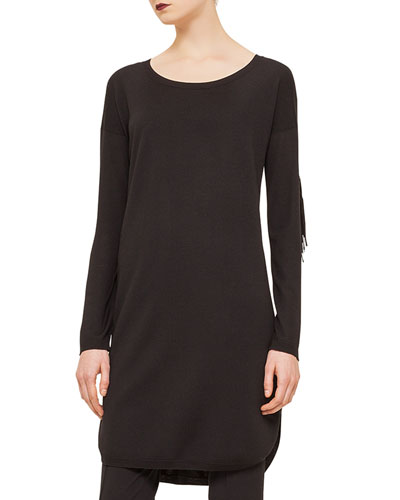 Long-Sleeve Fringe-Trim Tunic, Black