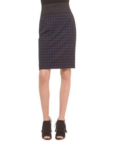 High-Waist Check-Print Pencil Skirt, Ultramarine/Black