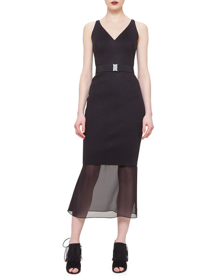 Akris punto Sheer-Hem Belted Dress, Black