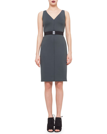 Sleeveless Belted Sheath Dress, Bottle