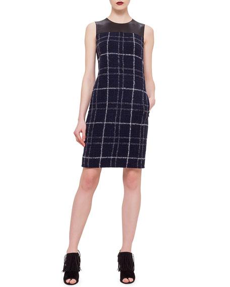 Akris punto Leather Trimmed Sheath Dress, Ultramarine