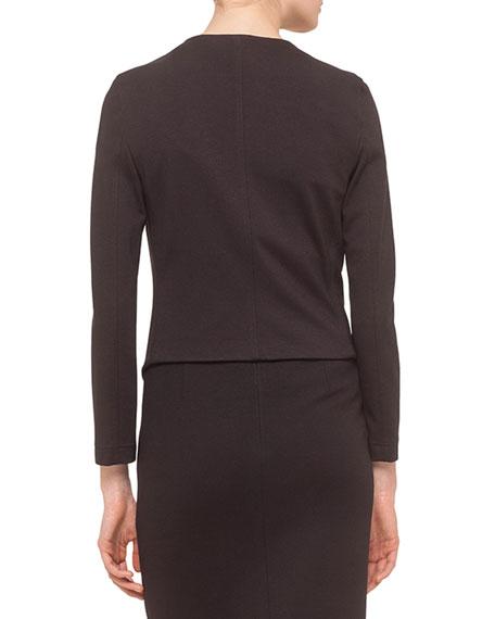 Long-Sleeve Draped-Front Jacket, Black