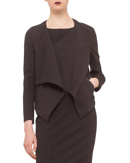 Akris punto Long-Sleeve Draped-Front Jacket, Scoop-Back Jersey