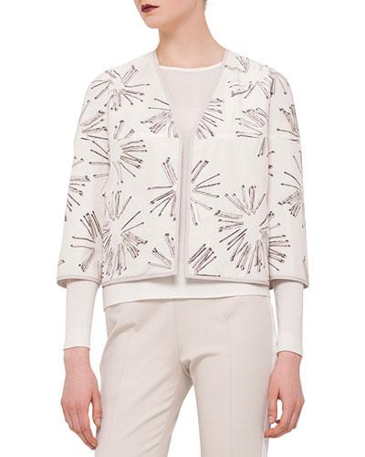 3/4-Sleeve Matchstick Reversible Jacket, Canvas