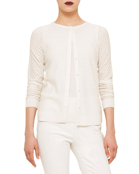 Akris punto Long-Sleeve Perforated Cardigan, Cream