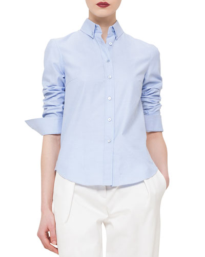 Button-Front Sheer-Back Shirt, Bleached Denim