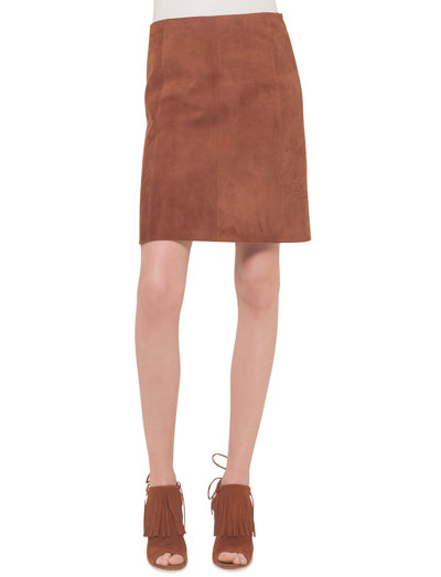 Suede A-Line Skirt, Nougat