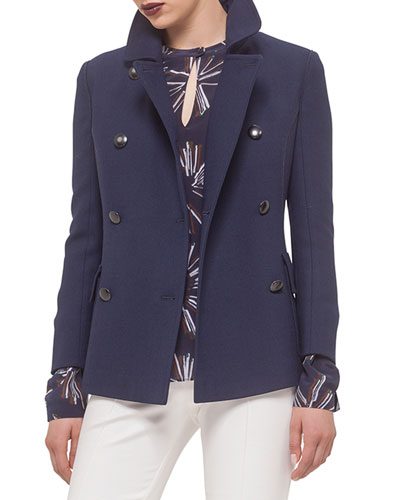 Button-Front Short Peacoat, Ultramarine