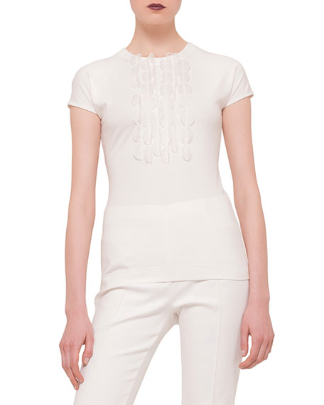Akris punto Cap-Sleeve Embellished Shirt, Cream