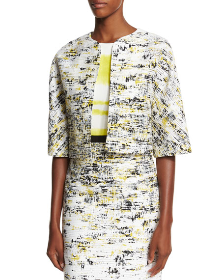 Carolina Herrera Half-Sleeve Open-Front Cropped Jacket &