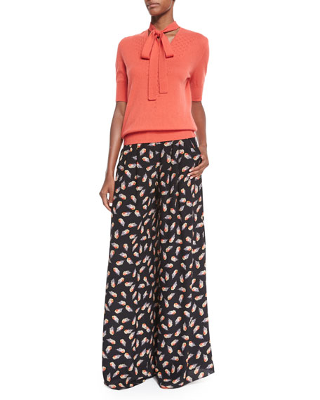 Feather-Print Wide-Leg Pants, Black Multi