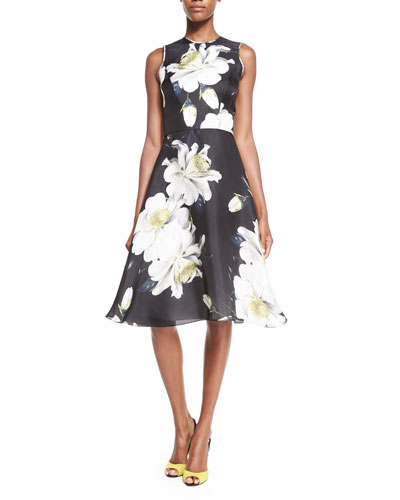 Sleeveless Gardenia-Print Dress, Black/White