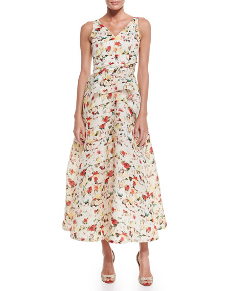 Carolina Herrera Sleeveless Peplum Midi Dress, Multi Colors
