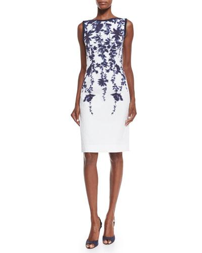 Sleeveless Floral-Print Sheath Dress, Navy/Ivory