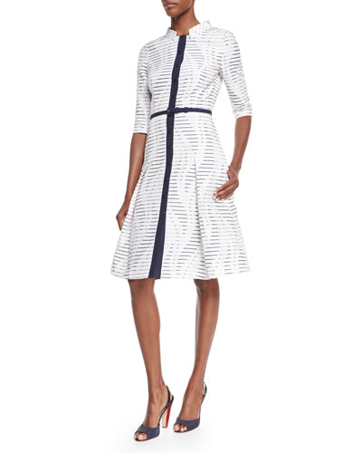 Button-Front Herrera Dress, Red/Navy/White