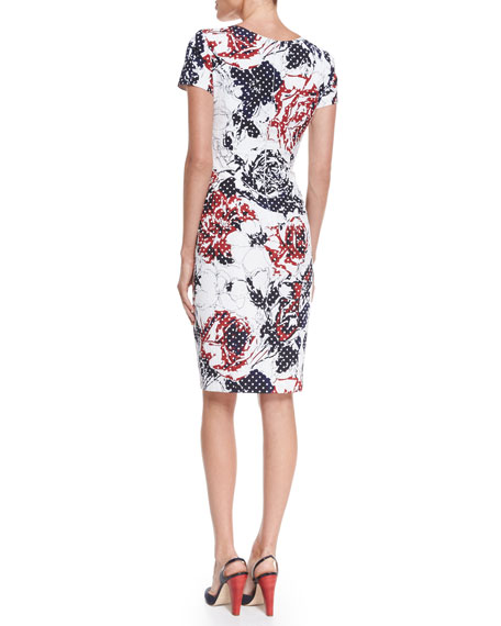 Carolina Herrera Rose & Dot-Print Sheath Dress, Red/Navy/White
