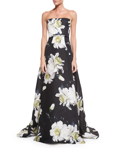 Strapless Gown W/Large Gardenia-Print, Black/White