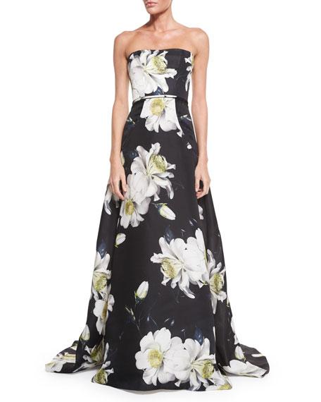 Carolina Herrera Strapless Gown W/Large Gardenia-Print, Black/White